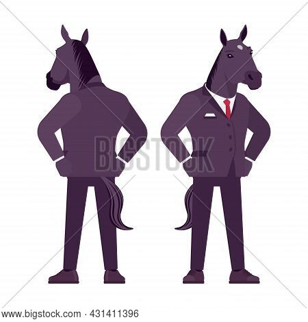 Horse Man, Large Hoofed Male Animal In Formal Human Wear. Business Person In Dark Strict Suit, Stron