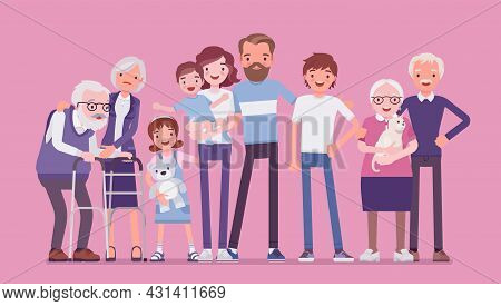 Multigenerational Family, Common Household, Happy Living Together In Support, Care. Three Generation