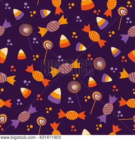 Candy Seamless Pattern For Halloween - Candy Corn, Lollipop, And Sweets On Purple Background. Good F