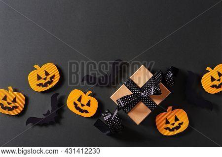 Kids Halloween Handmade Paper Pumpkins, Bat And Gift, Creative, Craft Concept On Black Background, T
