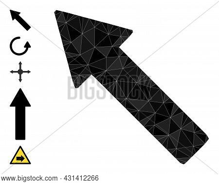 Triangle Left Up Arrow Polygonal Symbol Illustration, And Similar Icons. Left Up Arrow Is Filled Wit