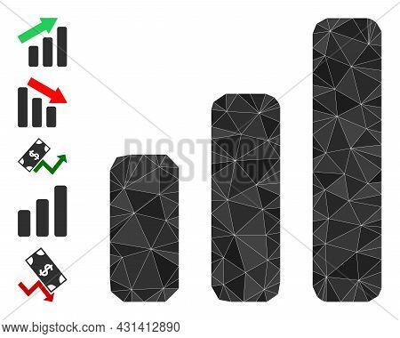 Triangle Up Trend Bar Chart Polygonal 2d Illustration, And Similar Icons. Up Trend Bar Chart Is Fill