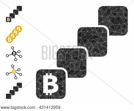 Triangle Bitcoin Blockchain Polygonal Icon Illustration, And Similar Icons. Bitcoin Blockchain Is Fi