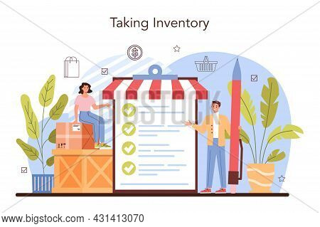 Commercial Activities. Store Inventory, Entrepreneur Stocktaking Goods