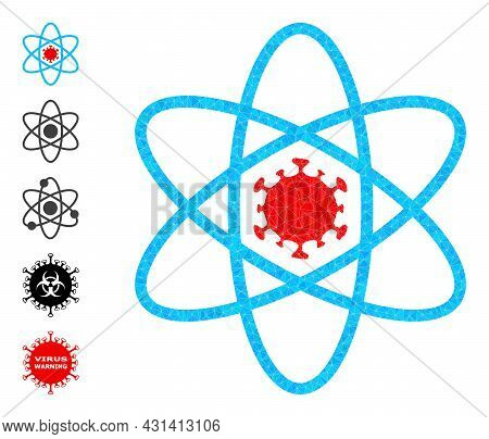 Triangle Virus Atom Polygonal Symbol Illustration, And Similar Icons. Virus Atom Is Filled With Tria