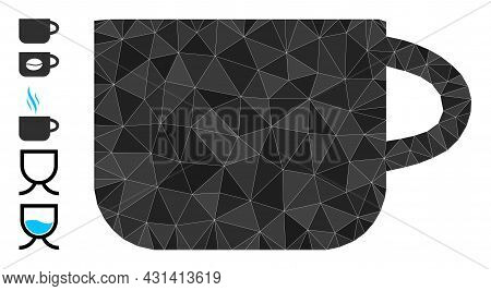 Triangle Tea Cup Polygonal Symbol Illustration, And Similar Icons. Tea Cup Is Filled With Triangles.