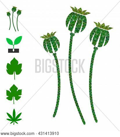 Triangle Poppy Plants Polygonal 2d Illustration, And Similar Icons. Poppy Plants Is Filled With Tria