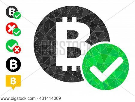 Triangle Accept Bitcoin Polygonal Symbol Illustration, And Similar Icons. Accept Bitcoin Is Filled W