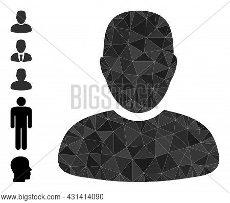 Triangle User Polygonal 2d Illustration, And Similar Icons. User Is Filled With Triangles. Lowpoly U