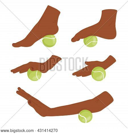 Set Of Myofascial Release Exercises For Hands And  Feet. Rehabilitation Workout On Tennis Ball. Vect