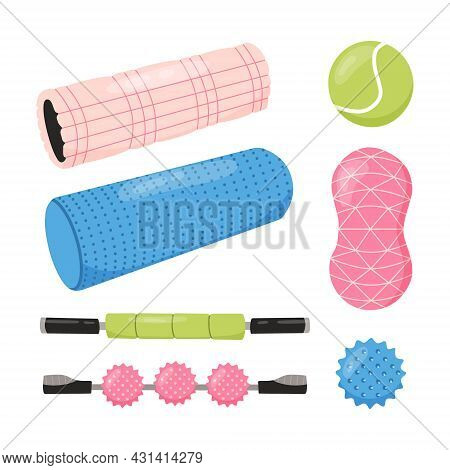 Set Of Equipment For Myofascial Release Training. Foam Roller, Tennis Ball, Spiky Trigger Point Ball