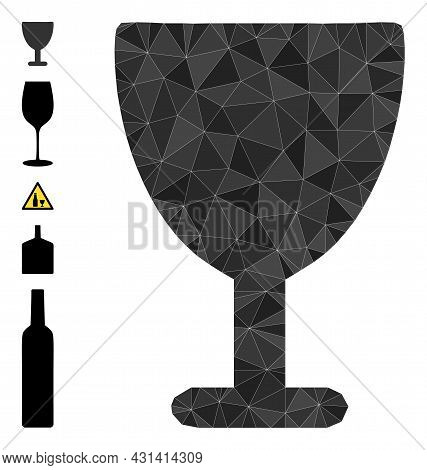 Triangle Wine Glass Polygonal Icon Illustration, And Similar Icons. Wine Glass Is Filled With Triang