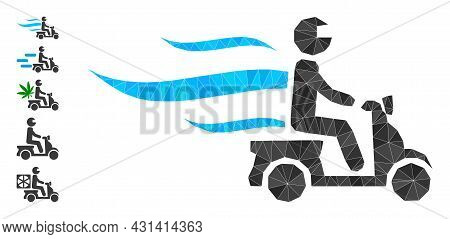 Triangle Fast Motorbike Courier Polygonal Icon Illustration, And Similar Icons. Fast Motorbike Couri