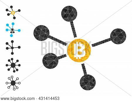 Triangle Bitcoin Links Polygonal Icon Illustration, And Similar Icons. Bitcoin Links Is Filled With