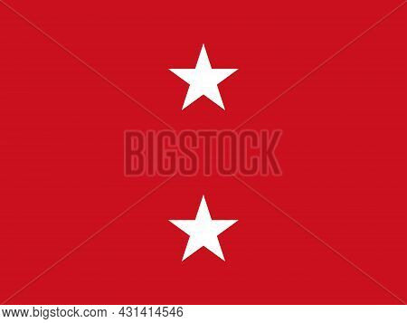 The Flag Of A Usa Marine Corps Major General Of A Pair Of White Stars Set Over A Red Background