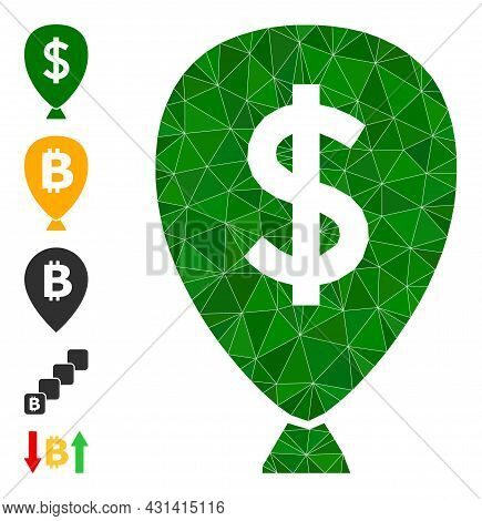 Triangle Financial Inflation Balloon Polygonal Icon Illustration, And Similar Icons. Financial Infla