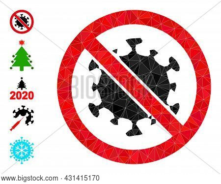 Triangle Stop Covid Virus Polygonal 2d Illustration, And Similar Icons. Stop Covid Virus Is Filled W