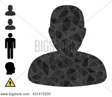 Triangle Person Profile Polygonal Symbol Illustration, And Similar Icons. Person Profile Is Filled W