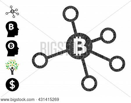 Triangle Bitcoin Nodes Polygonal 2d Illustration, And Similar Icons. Bitcoin Nodes Is Filled With Tr