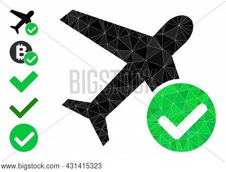 Triangle Accept Airplane Polygonal Symbol Illustration, And Similar Icons. Accept Airplane Is Filled