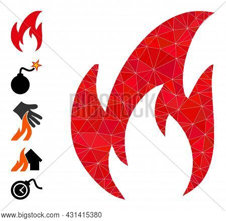 Triangle Fire Polygonal Symbol Illustration, And Similar Icons. Fire Is Filled With Triangles. Lowpo