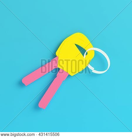 Yellow Two Keys On Keyring On Bright Blue Background In Pastel Colors. Minimalism Concept. 3d Render
