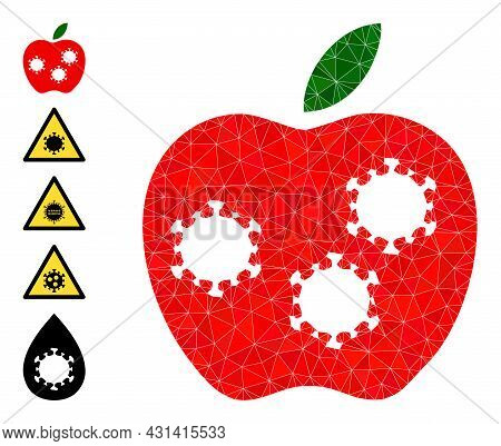 Triangle Infected Apple Polygonal 2d Illustration, And Similar Icons. Infected Apple Is Filled With