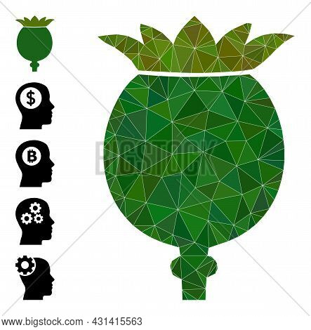 Triangle Poppy Head Polygonal Icon Illustration, And Similar Icons. Poppy Head Is Filled With Triang