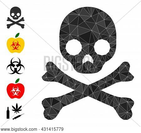 Triangle Death Skull Polygonal Symbol Illustration, And Similar Icons. Death Skull Is Filled With Tr