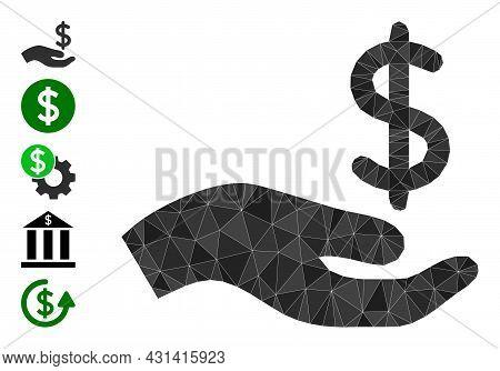 Triangle Dollar Donation Hand Polygonal 2d Illustration, And Similar Icons. Dollar Donation Hand Is