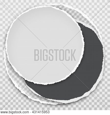 Set Of Round Torn, Ripped White And Black Paper With Soft Shadow Are On Squared Background For Text.