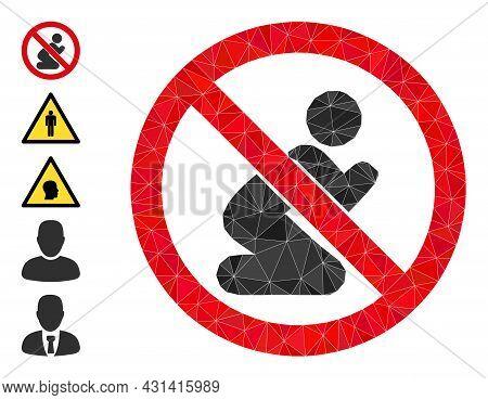 Triangle Forbid Praying Man Polygonal Icon Illustration, And Similar Icons. Forbid Praying Man Is Fi