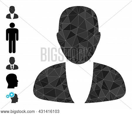Triangle Guy Person Polygonal Icon Illustration, And Similar Icons. Guy Person Is Filled With Triang