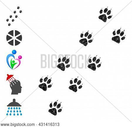 Triangle Tiger Paw Trace Polygonal Icon Illustration, And Similar Icons. Tiger Paw Trace Is Filled W