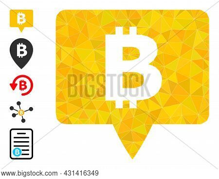 Triangle Bitcoin Banner Polygonal Symbol Illustration, And Similar Icons. Bitcoin Banner Is Filled W