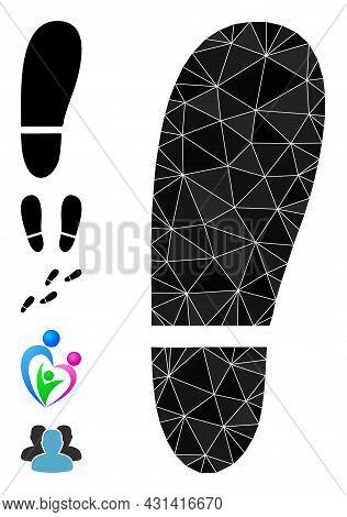 Triangle Human Foot Print Polygonal Symbol Illustration, And Similar Icons. Human Foot Print Is Fill