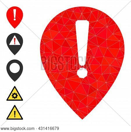 Triangle Notice Map Pointer Polygonal Symbol Illustration, And Similar Icons. Notice Map Pointer Is