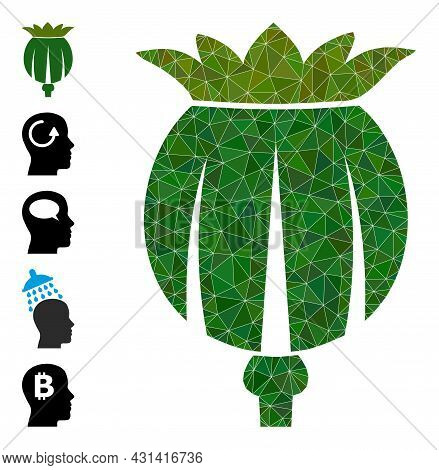 Triangle Opium Poppy Head Polygonal 2d Illustration, And Similar Icons. Opium Poppy Head Is Filled W