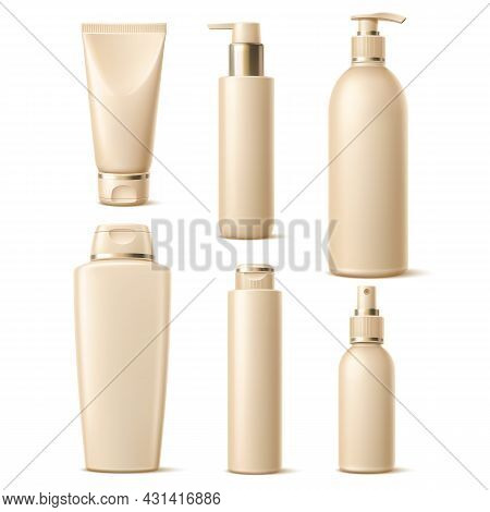 Realistic Golden Caps Cosmetic. Luxury Skincare Products Packaging, Elegant Designs Containers, 3d B