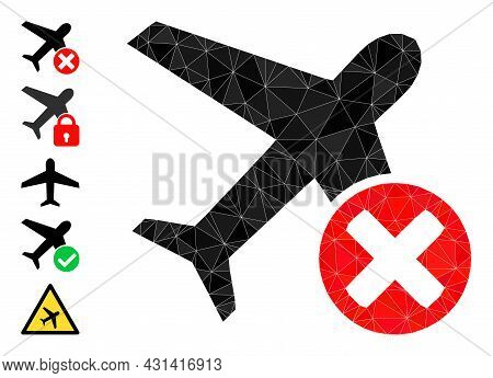Triangle Closed Airplane Polygonal Symbol Illustration, And Similar Icons. Closed Airplane Is Filled