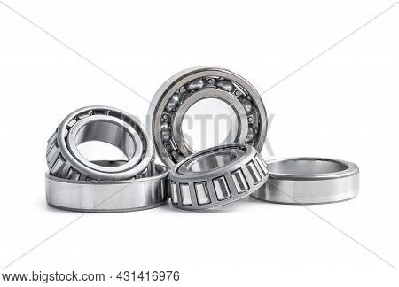 Ball Bearing Stainless Metal Roller For Machine Industrial, Angular Contact Isolated On White Backgr