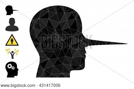 Triangle Liar Person Polygonal Symbol Illustration, And Similar Icons. Liar Person Is Filled With Tr