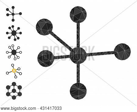 Triangle Node Connections Polygonal 2d Illustration, And Similar Icons. Node Connections Is Filled W