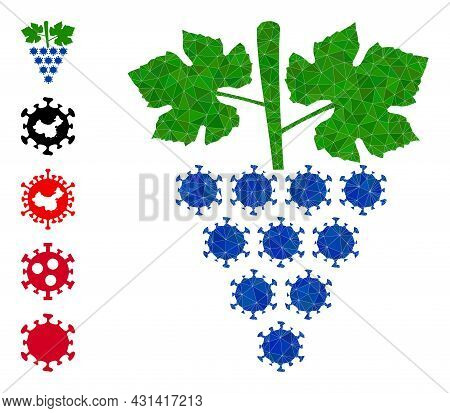 Triangle Virus Grapes Bunch Polygonal Symbol Illustration, And Similar Icons. Virus Grapes Bunch Is