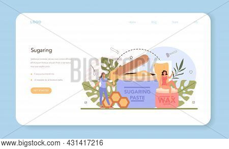 Epilation Web Banner Or Landing Page. Hair Removal Method. Idea Of Body Skin