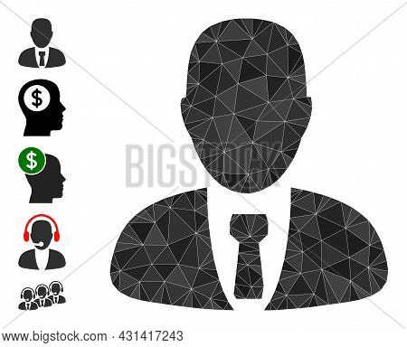 Triangle Manager Polygonal Icon Illustration, And Similar Icons. Manager Is Filled With Triangles. L