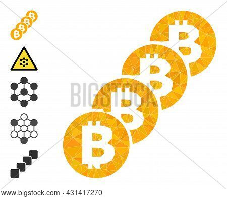 Triangle Bitcoin Coin Blockchain Polygonal Symbol Illustration, And Similar Icons. Bitcoin Coin Bloc