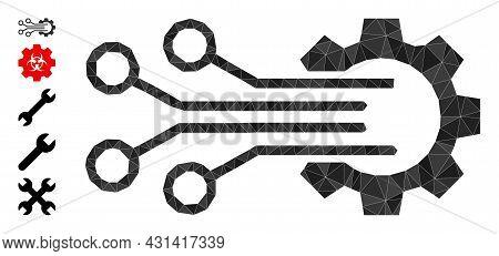 Triangle Mechanic Sensor Polygonal Icon Illustration, And Similar Icons. Mechanic Sensor Is Filled W