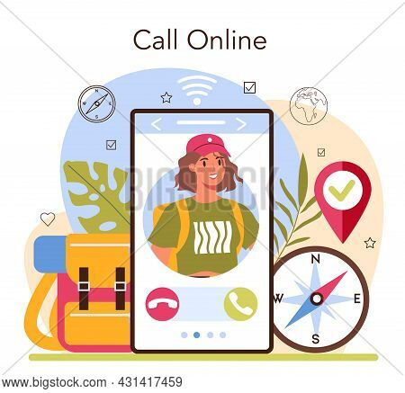 Expedition Guide Online Service Or Platform. Tourists Hiking