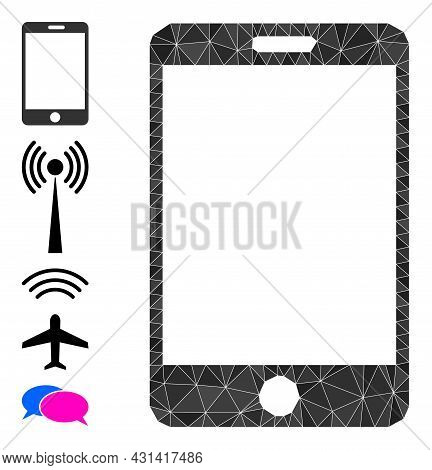 Triangle Smartphone Polygonal Symbol Illustration, And Similar Icons. Smartphone Is Filled With Tria